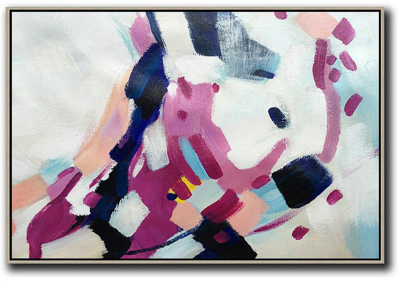 Oversized Horizontal Contemporary Art,Large Wall Canvas,White,Purple,Dark Blue,Pink