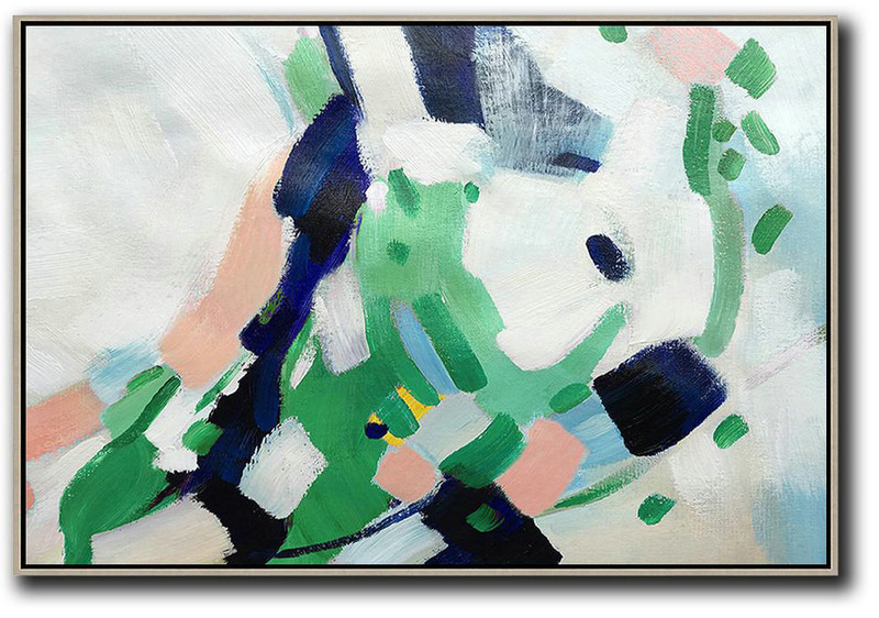 Oversized Horizontal Contemporary Art,Modern Art,White,Pink,Dark Blue,Green