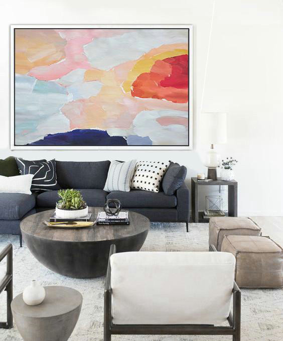 Oversized Horizontal Contemporary Art,Acrylic Painting On Canvas,Pink,Dark Blue,Grey,Red
