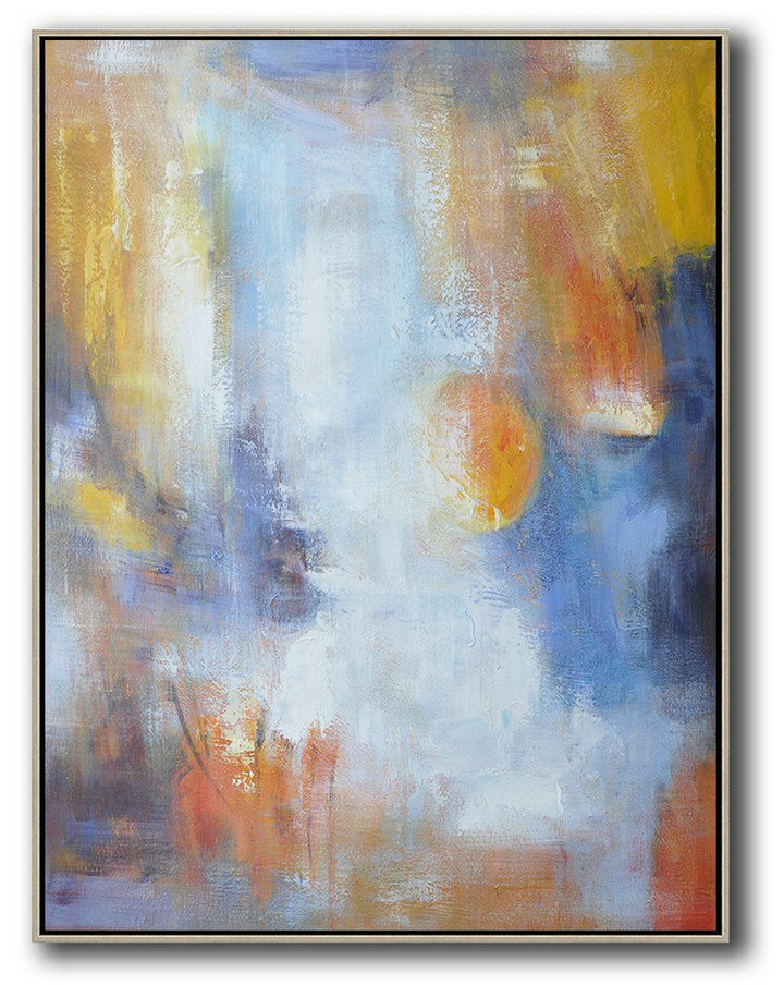 Vertical Palette Knife Contemporary Art,Acrylic Painting Large Wall Art,Yellow,White,Blue