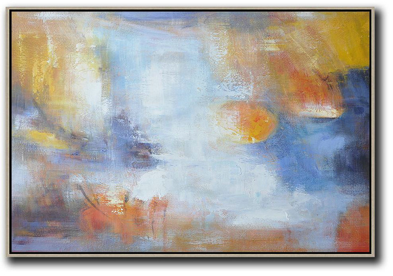 Oversized Horizontal Contemporary Art,Modern Art Abstract Painting,White,Blue,Yellow