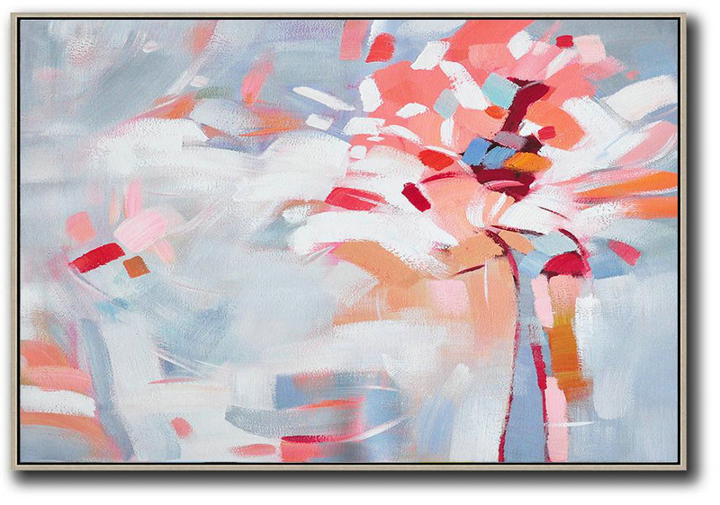 Oversized Horizontal Contemporary Art,Acrylic Painting Large Wall Art,White,Pink,Red,Grey