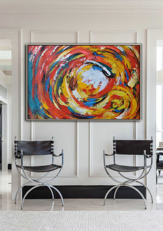 Oversized Horizontal Palette Knife Abstract Floral Painting On Canvas,Large Abstract Wall Art,Red,White,Yellow