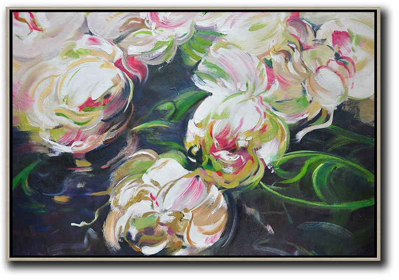Horizontal Abstract Flower Oil Painting,Original Modern Art,Large Wall Art Handmade,White,Green,Black