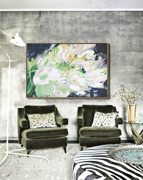 Horizontal Abstract Flower Oil Painting,Abstract Painting On Canvas,White,Light Green,Grey,Black