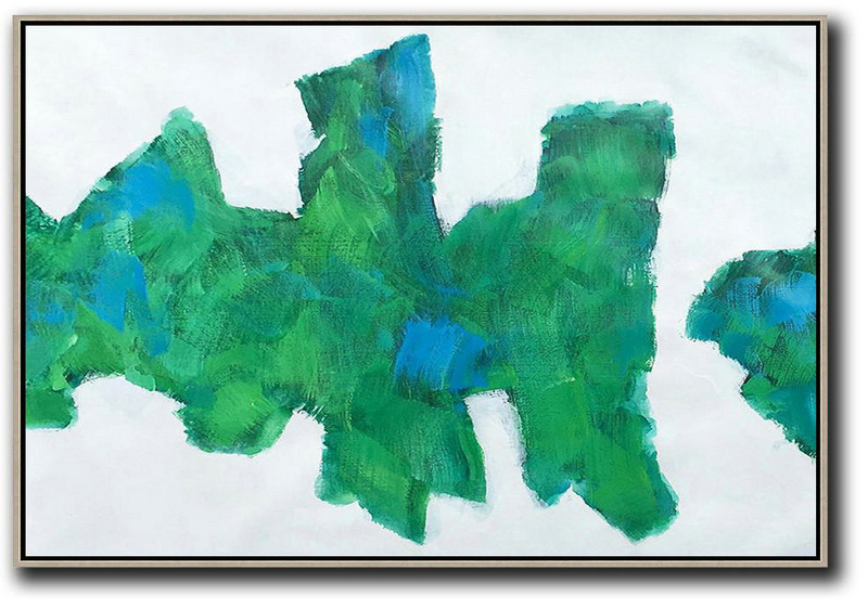 Horizontal Abstract Landscape Art,Oversized Canvas Art,White,Green,Blue