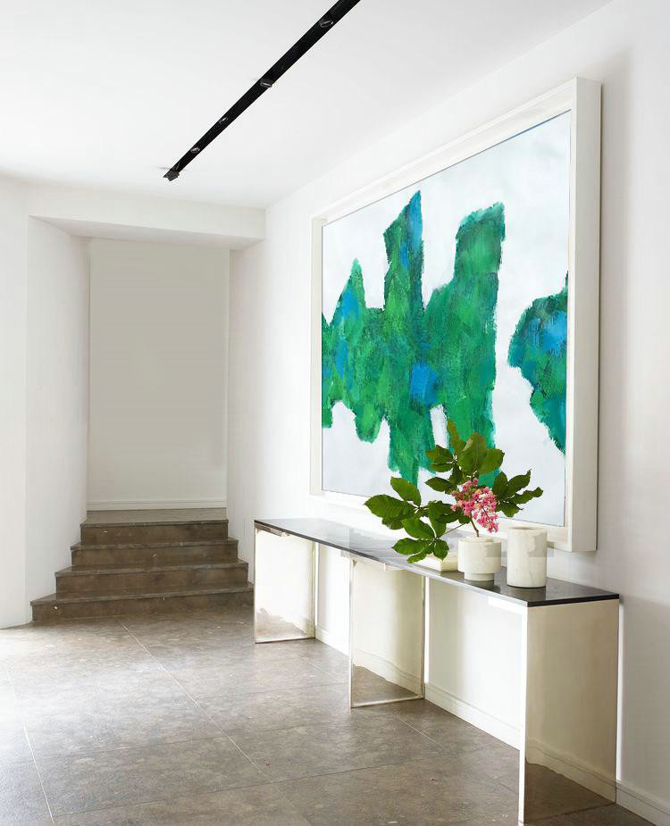 Horizontal Abstract Landscape Art,Oversized Canvas Art,White,Green,Blue - Click Image to Close