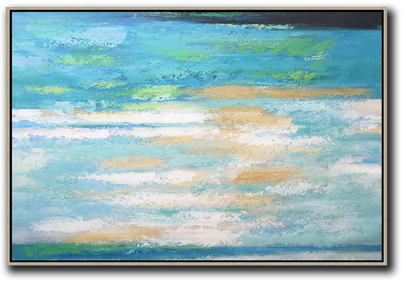 Oversized Horizontal Abstract Landscape Art,Large Wall Art Home Decor,Blue,Earthy Yellow,White
