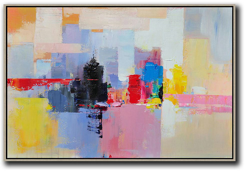 Horizontal Abstract Landscape Art,Oversized Art,White,Pink,Yellow,Black,Red