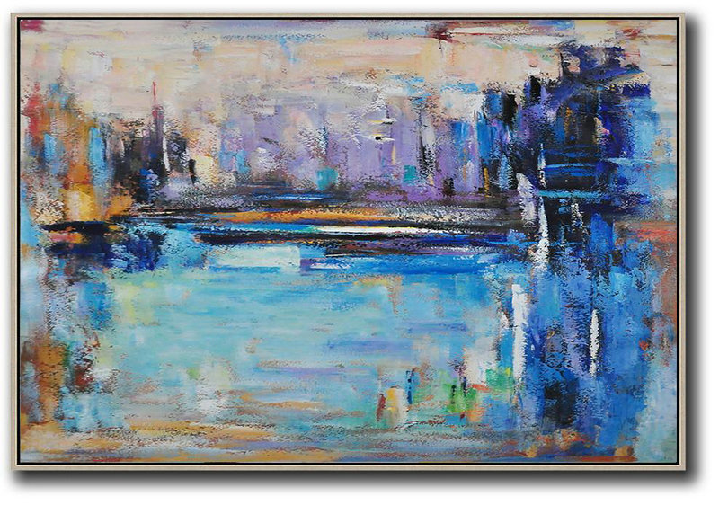 Oversized Horizontal Contemporary Art,Big Canvas Painting,Blue,Purple,Dark Blue,Brown
