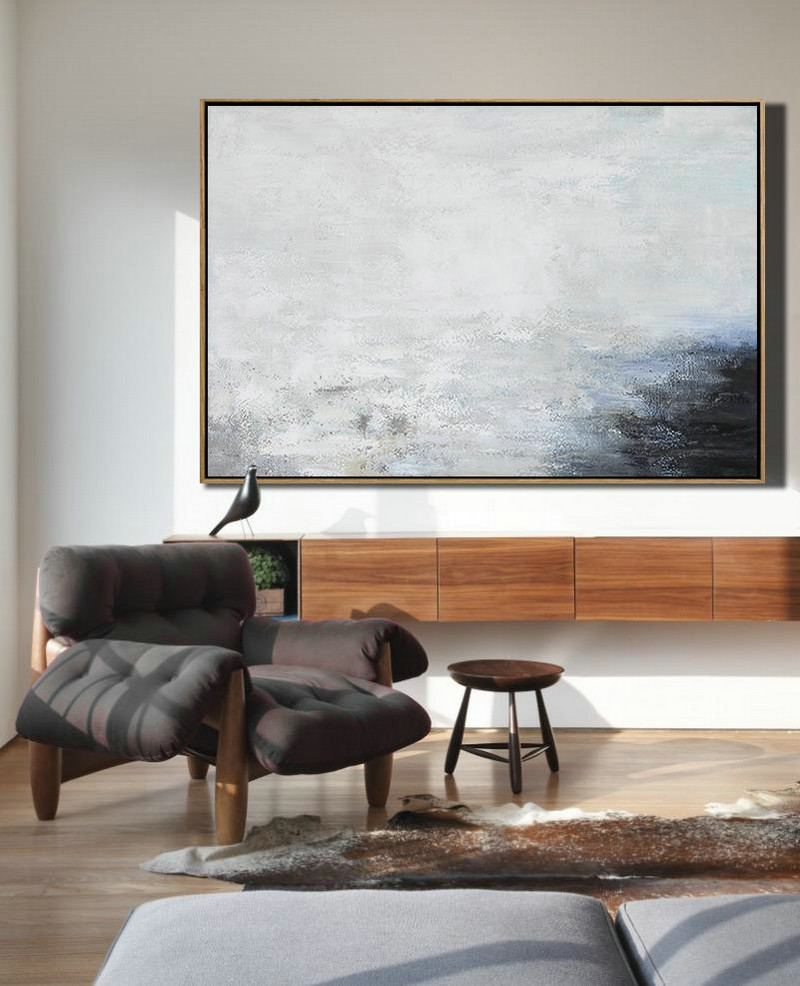 Hand Painted Oversized Horizontal Abstract Landscape Art On Canvas,Modern Canvas Art,White,Grey,Black