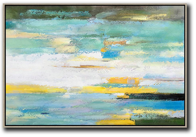 Oversized Horizontal Abstract Landscape Art,Living Room Wall Art,White,Yellow,Light Green