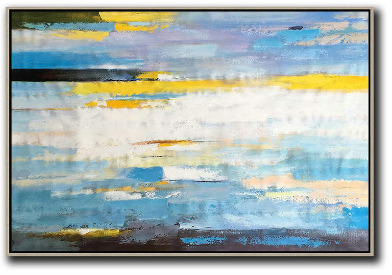 Horizontal Abstract Landscape Art,Acrylic Painting On Canvas,White,Yellow,Blue,Purple,Black
