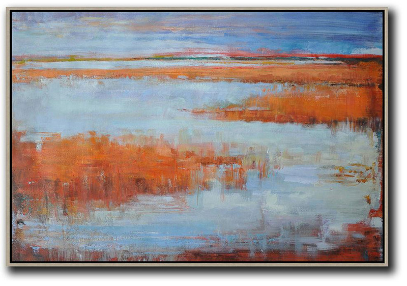 Horizontal Abstract Landscape Oil Painting On Canvas,Hand Paint Abstract Painting,Blue,Orange,Grey,Red
