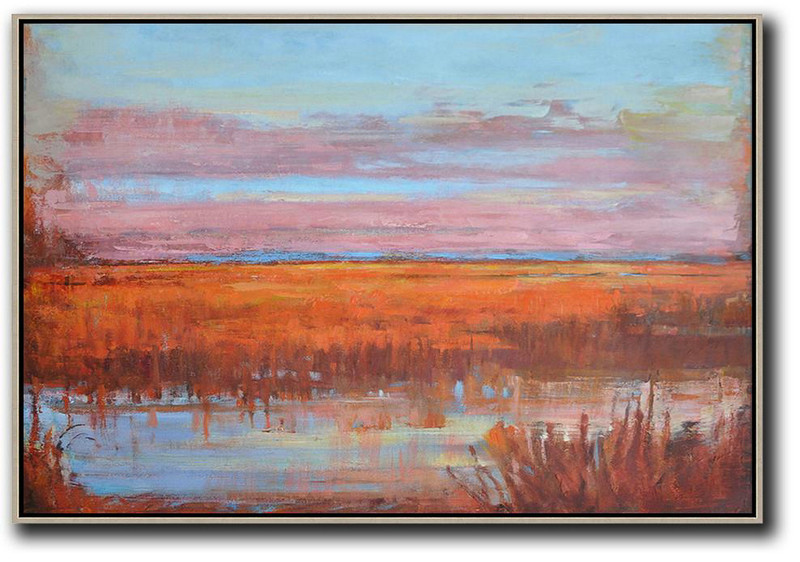 Horizontal Abstract Landscape Oil Painting On Canvas,Large Contemporary Art Canvas Painting,Sky Blue,Pink,Orange,Red