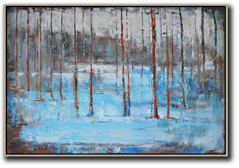 Horizontal Abstract Landscape Oil Painting On Canvas,Giant Canvas Wall Art,Blue,Red,Grey