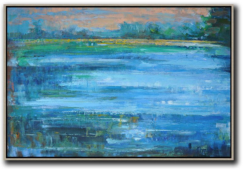 Horizontal Abstract Landscape Oil Painting On Canvas,Original Art Acrylic Painting,Nude,Light Blue,Green,Yellow