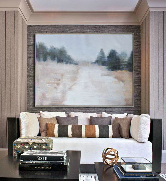 Horizontal Abstract Landscape Oil Painting On Canvas,Living Room Canvas Art,Grey,Nude,Dark Green