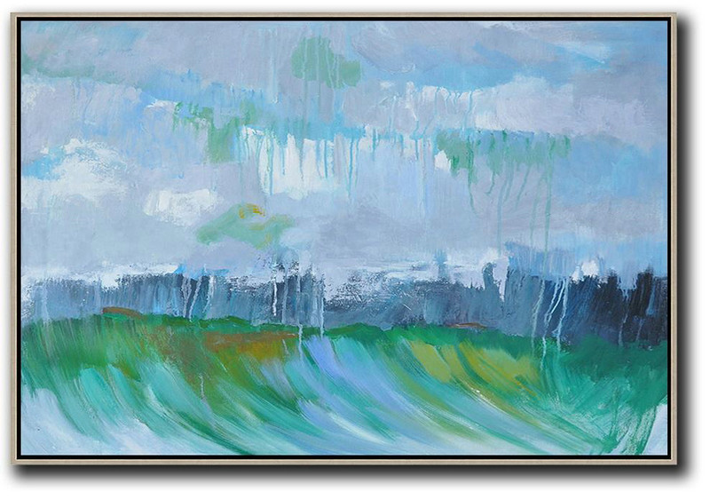 Horizontal Abstract Landscape Oil Painting On Canvas,Hand Painted Original Art,Grey,Dark Blue,Green