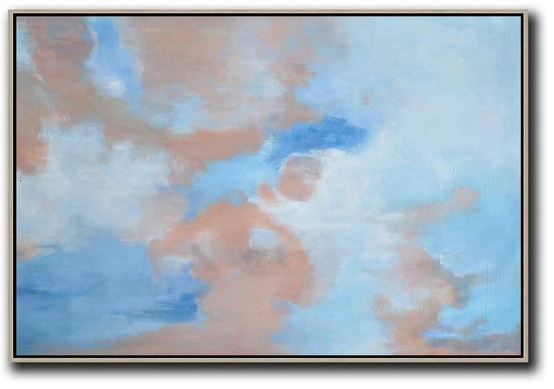 Horizontal Abstract Landscape Oil Painting On Canvas,Hand Made Original Art,Sky Blue,Nude,White