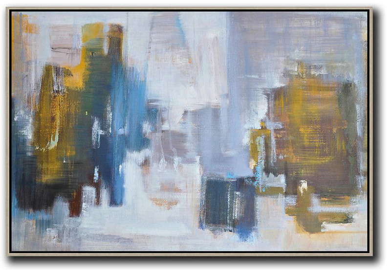 Horizontal Abstract Landscape Oil Painting On Canvas,Hand Painted Abstract Art,White,Blue,Earthy Yellow,Grey
