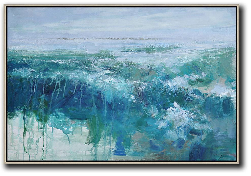 Horizontal Abstract Landscape Oil Painting On Canvas,Hand-Painted Canvas Art,Blue,Grey,Green