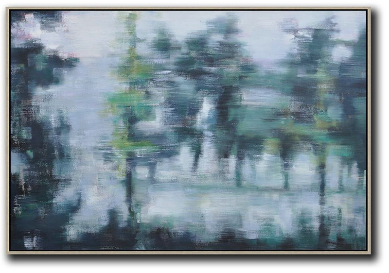 Horizontal Abstract Landscape Oil Painting On Canvas,Artwork For Sale,Grey,Dark Green,White