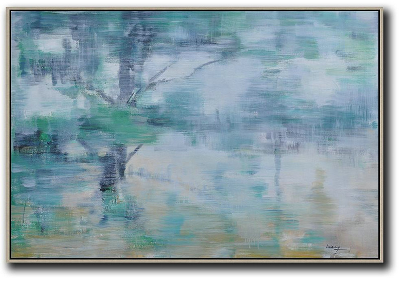 Horizontal Abstract Landscape Oil Painting On Canvas,Original Abstract Painting Canvas Art,Grey,Green,Yellow