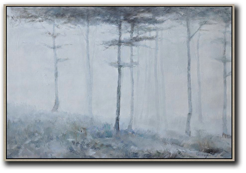Horizontal Abstract Landscape Oil Painting On Canvas,Hand Painted Aclylic Painting On Canvas,Grey,White,Dark Green