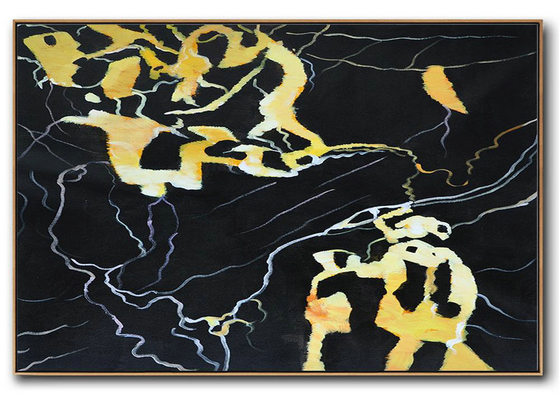 Hand Painted Oversized Horizontal Abstract Marble Art On Canvas,Hand Painted Original Art,Earthy Yellow ,Black,White