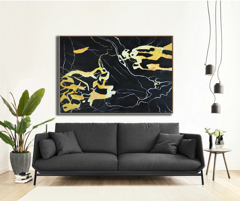 Hand Painted Oversized Horizontal Abstract Marble Art On Canvas,Huge Abstract Canvas Art,Earthy Yellow ,Black,White