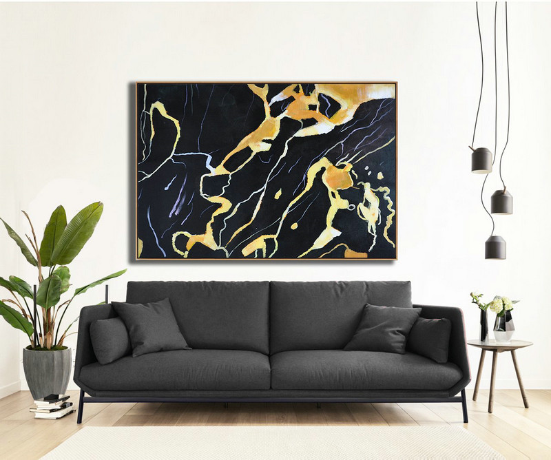 Hand Painted Oversized Horizontal Abstract Marble Art On Canvas,Canvas Artwork For Sale,Earthy Yellow ,Black,White
