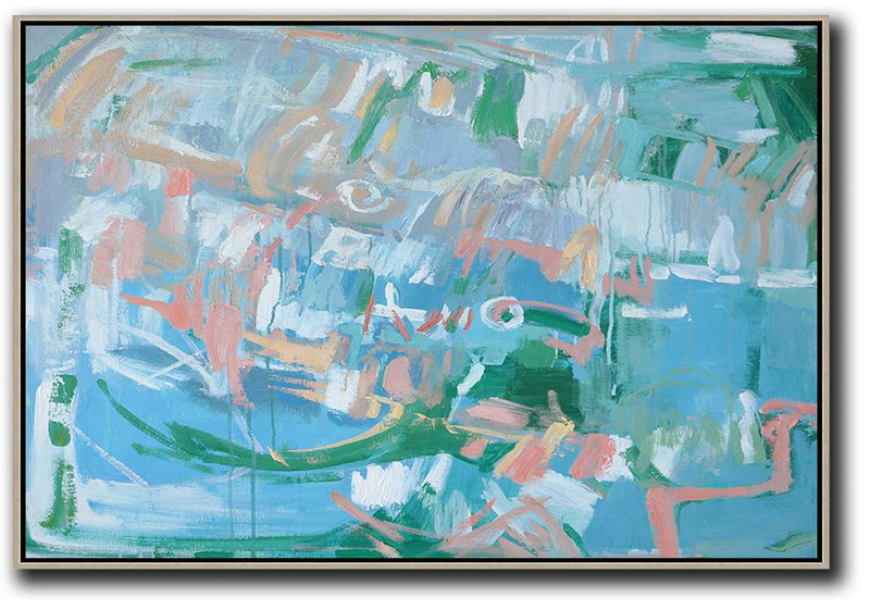 Hand Painted Horizontal Abstract Oil Painting On Canvas,Large Paintings For Living Room,Blue,Green,Pink
