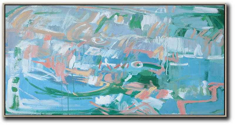 Panoramic Abstract Oil Painting On Canvas,Large Contemporary Painting,Blue,Green,Pink,White