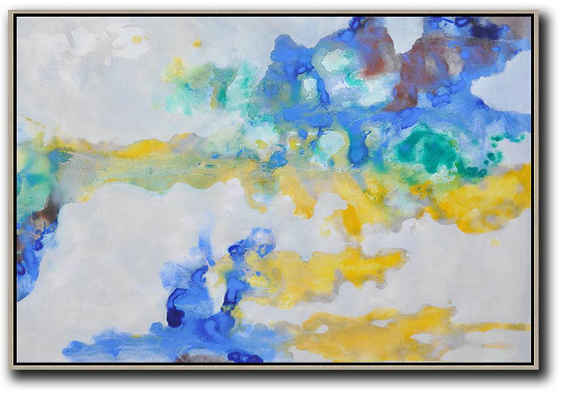 Hand Painted Horizontal Abstract Oil Painting On Canvas,Big Art Canvas,Grey,Yellow,Blue