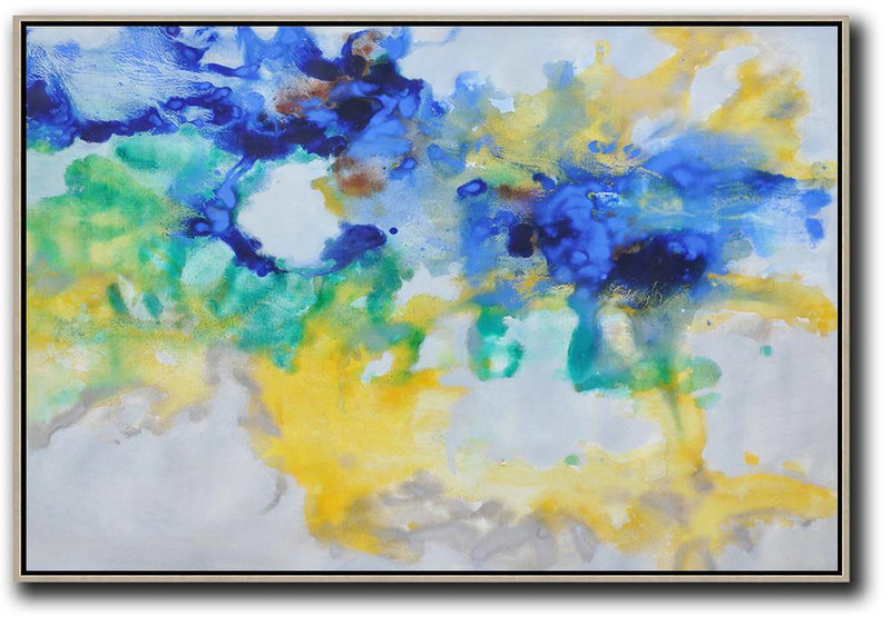 Hand Painted Horizontal Abstract Oil Painting On Canvas,Custom Canvas Wall Art,Blue,Yellow,Green,Grey
