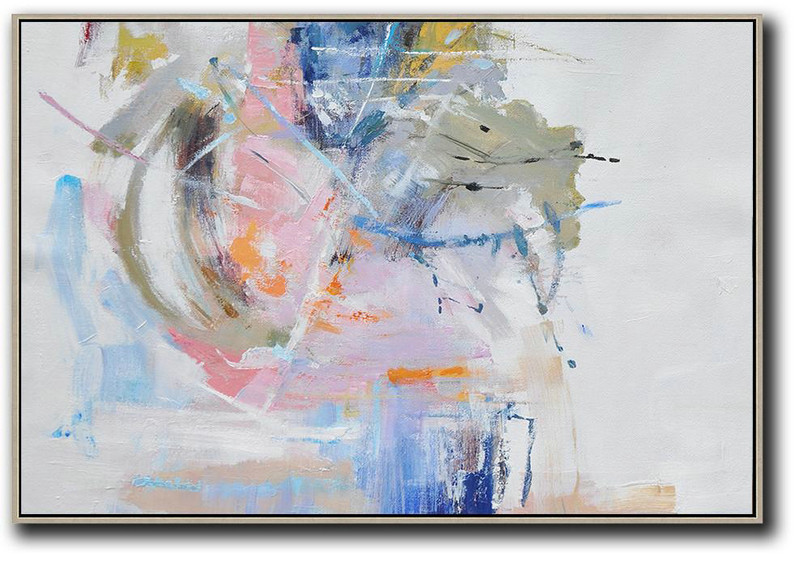 Hand Painted Horizontal Abstract Oil Painting On Canvas,Original Art Acrylic Painting,White,Grey,Pink,Blue
