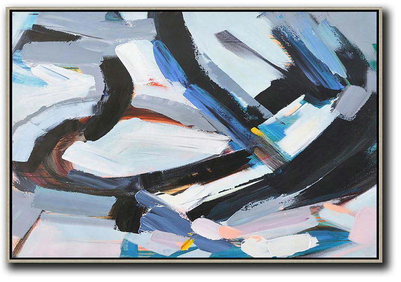 Horizontal Palette Knife Contemporary Art,Hand Painted Acrylic Painting,White,Grey,Dark Blue,Black