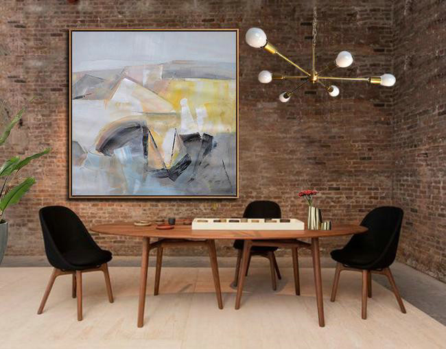Oversized Palette Knife Painting Contemporary Art On Canvas,Hand Made Original Art,Gray,Yellow,Blue