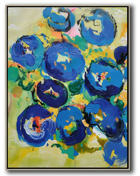Vertical Palette Knife Contemporary Art,Hand Painted Aclylic Painting On Canvas,Yellow,Blue,Pink,Green