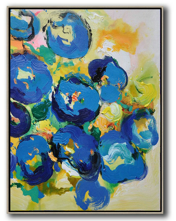 Vertical Palette Knife Contemporary Art,Extra Large Wall Art,Yellow,Blue,Pink,Green