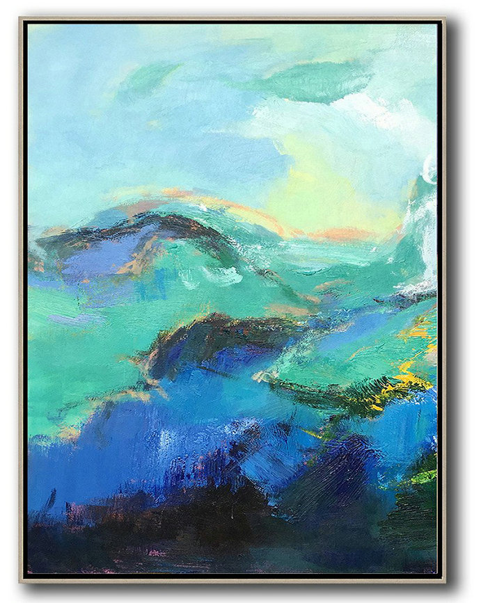 Vertical Palette Knife Contemporary Art,Hand Painted Acrylic Painting,Blue,Green,Black