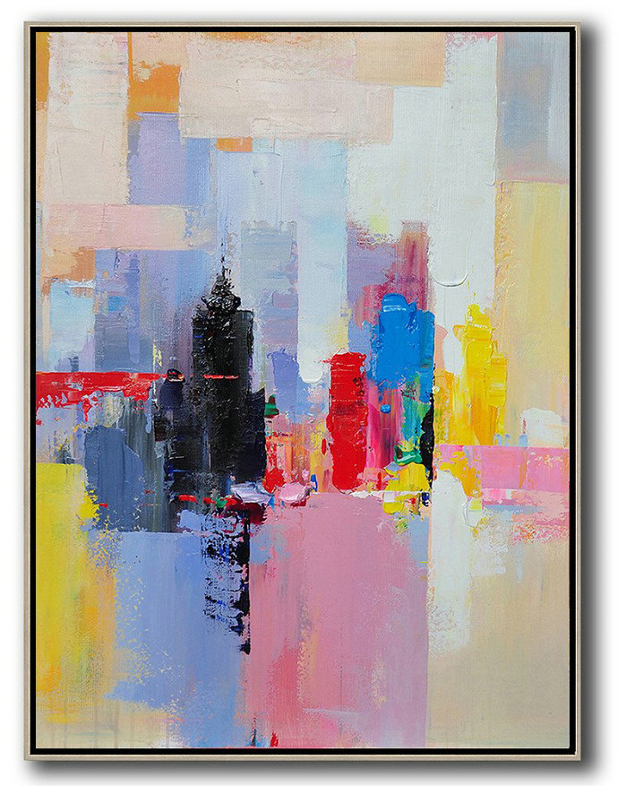 Vertical Palette Knife Contemporary Art,Art Work,Black,Red,Pink,Yellow
