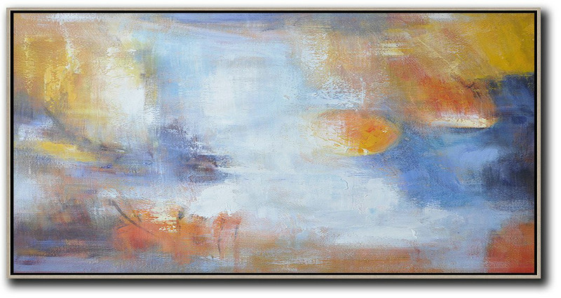 Horizontal Palette Knife Contemporary Art,Large Oil Canvas Art,Blue,White,Yellow