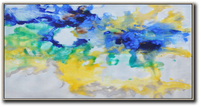 Hand Painted Panoramic Abstract Oil Painting On Canvas,Oversized Canvas Art,Grey,Yellow,Blue,Green