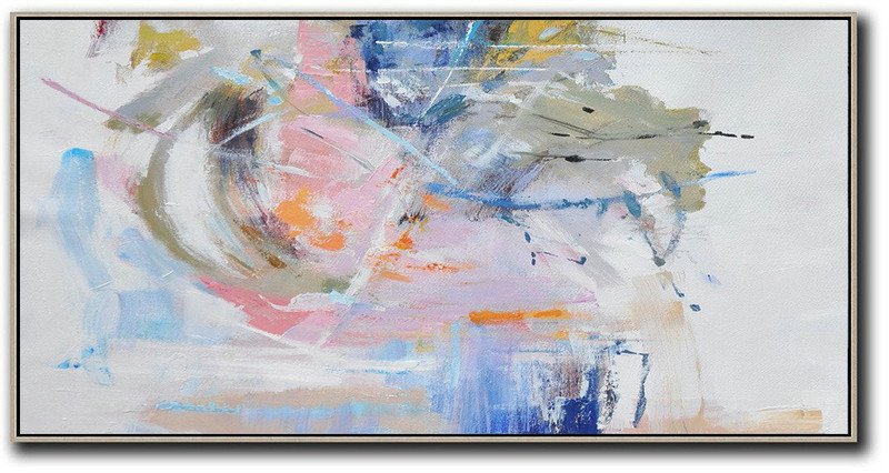 Panoramic Abstract Art On Canvas,Contemporary Art Canvas Painting,Grey,White,Blue,Green