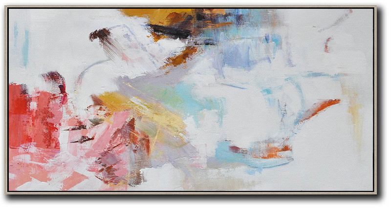 Hand Painted Panoramic Abstract Art On Canvas,Modern Canvas Art,White,Grey,Pink,Red,Earthy Yellow