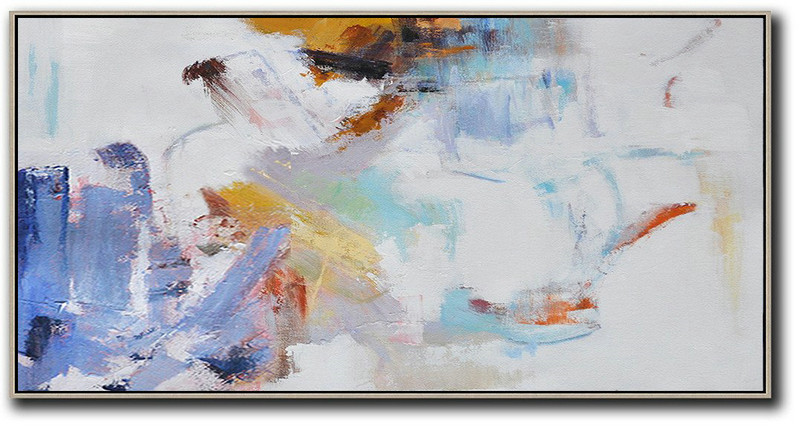 Horizontal Abstract Art On Canvas,Original Art Acrylic Painting,White,Blue,Grey,Earthy Yellow