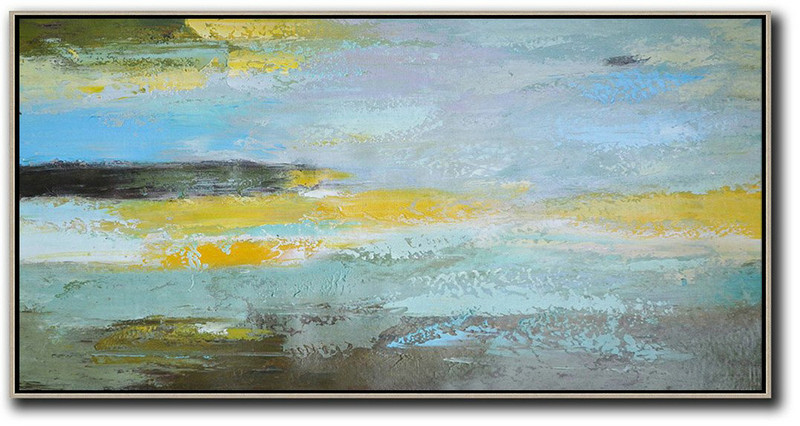 Horizontal Palette Knife Contemporary Art,Contemporary Wall Art,Yellow,Grey,Purple