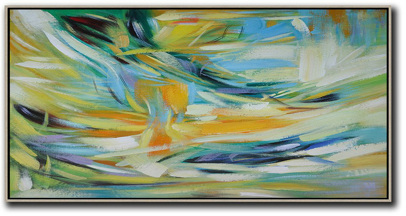 Horizontal Palette Knife Contemporary Art,Acrylic Painting On Canvas,Yellow,Blue,White,Green